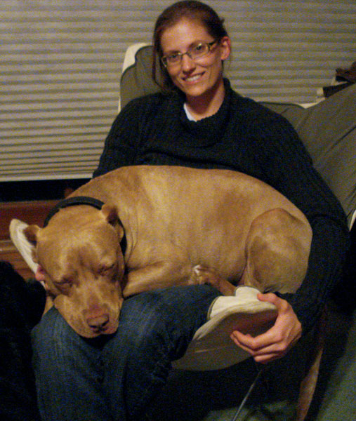 Bailey and her sweet pit bull terrier, Barney.